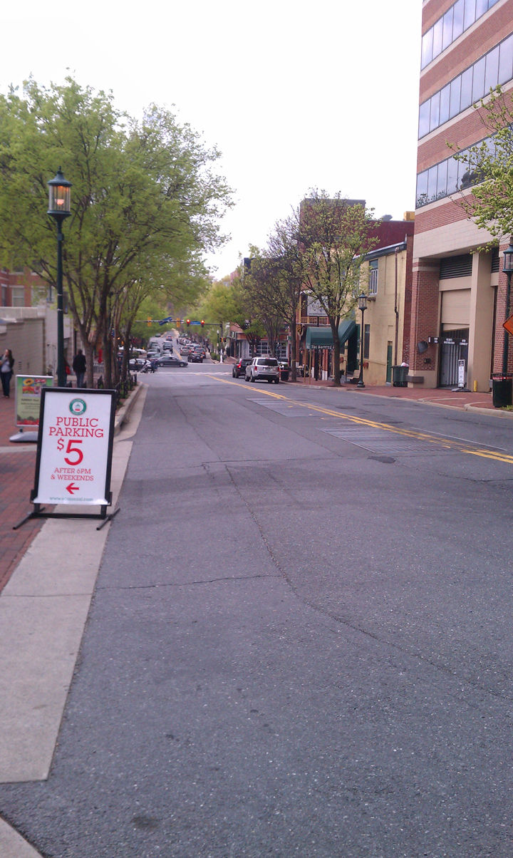 Elm Street without car traffic on Sunday morning