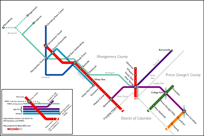 vision map with  current Metro & potential future rail